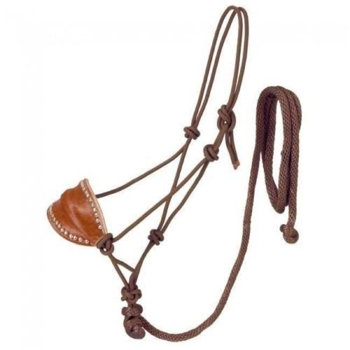Tough-1 Brown Poly Rope Halter W/Horsehair Bronc Nose & Lead Horse Tack ()