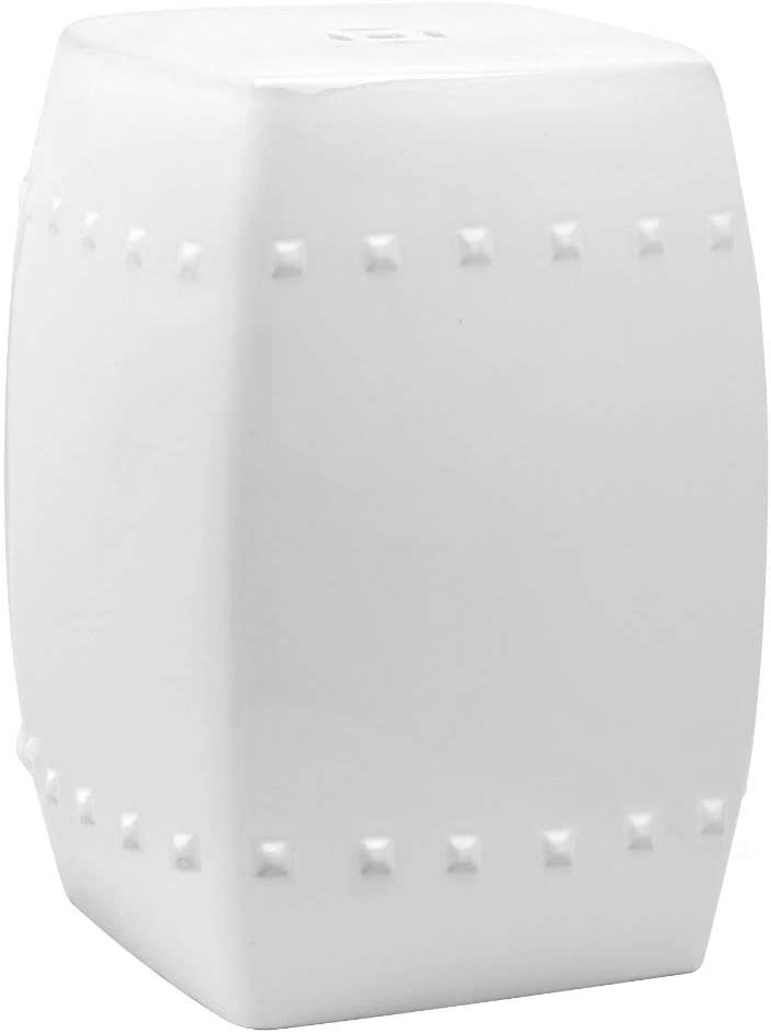 Safavieh Villa Glazed Ceramic Decorative Garden Stool, White