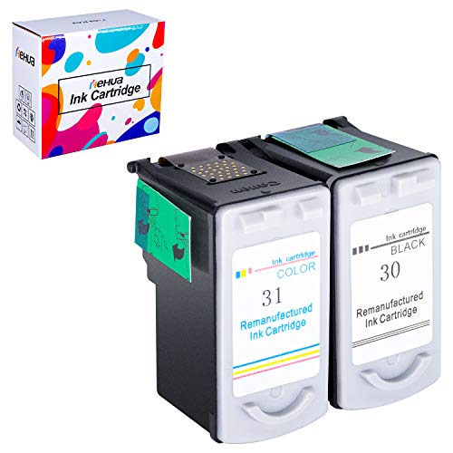 Cl 31 Printer Cartridge - Hehua Compatible PG-30 Black Ink Cartridge, Remanufactured 31 Color Ink Cartridge, Use with Canon Pixma ip2600 Ink Cartridge (1Black & 1Color, 2-Pack)