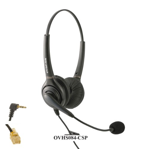 Cisco IP Phone Compatible Dual Ear Call Center Headset with Noise Canceling and Quick Disconnect Cords -