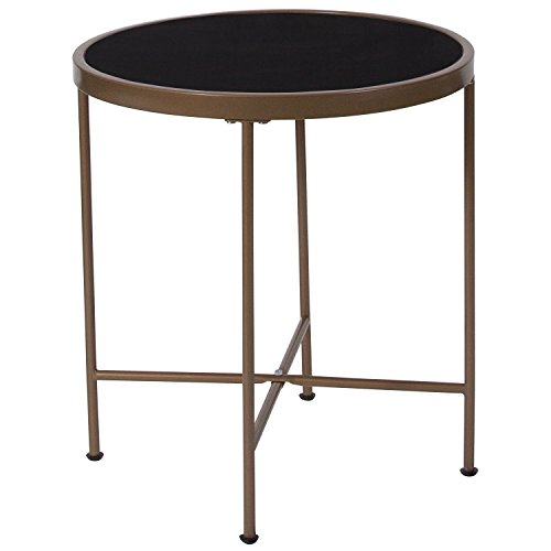 Cheap Flash Furniture Chelsea Collection Black Glass End Table with Matte Gold Frame