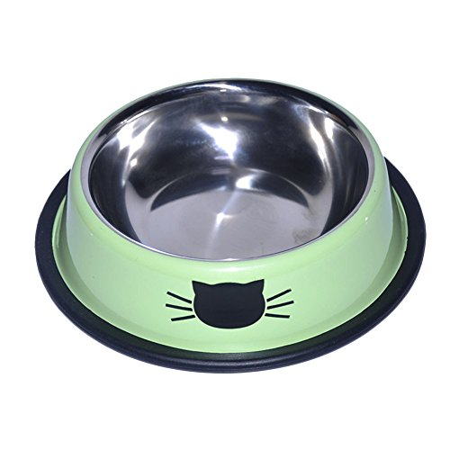 Topbeu Cute Pet Dog Cat Round Stainless Steel Food Water Feeding Bowl (Green) For Sale