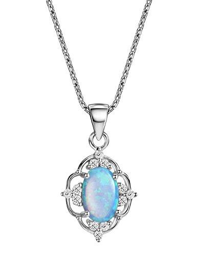 Blue Opal Pendant Necklace Vintage Sterling Silver October Birthstone Gemstone Fine Jewelry for Women