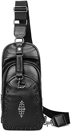 Men s Bodybag Shoulder Bag Waterproof PU Leather Multipurpose Backpack School College Black 3170J