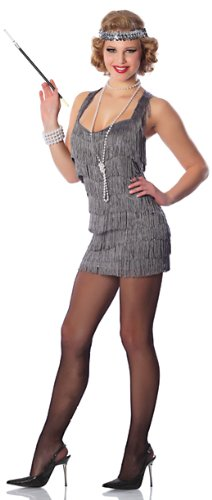 Delicious Lindy and Lace Flapper Costume, Silver, Small