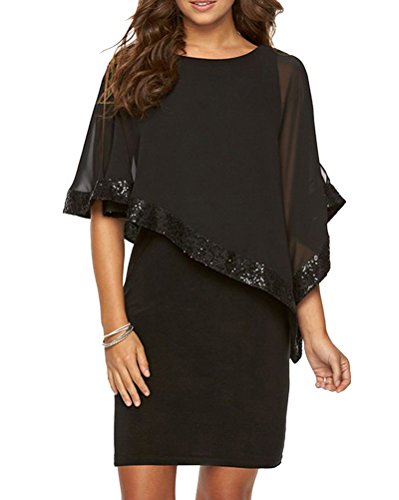Mujer Chal Lentejuelas Vestido Cuello Redondo Color Sólido Falda Del Vestido Negro