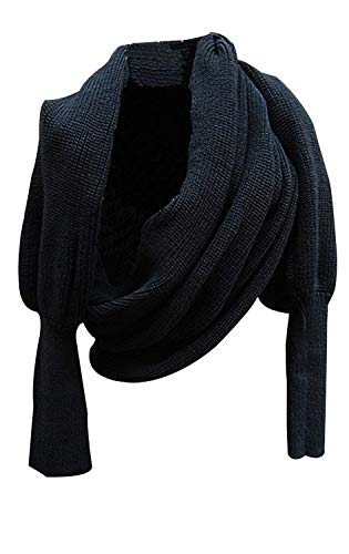 Aicos Alacos Knit Blanket Long Shawl Winter Warm Large Scarf with Sleeves for Women (Black) (Scarf Thing)