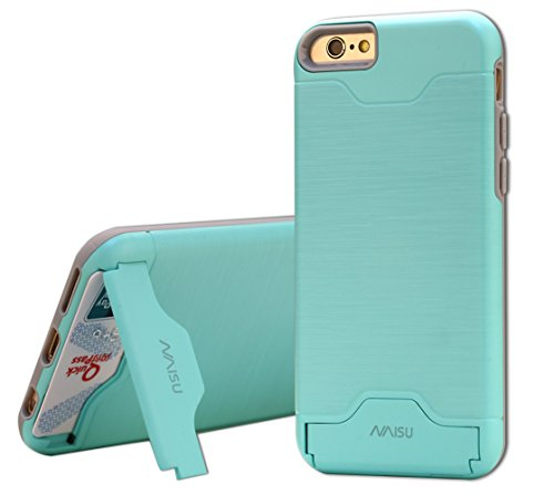 iPhone 6 / 6S Case, NAISU Card Slot Holder Kickstand Dual Layer Hybrid Protective Case with Brush Finish Back Cover for Apple iPhone 6 / 6S (4.7 Inch)-Mint