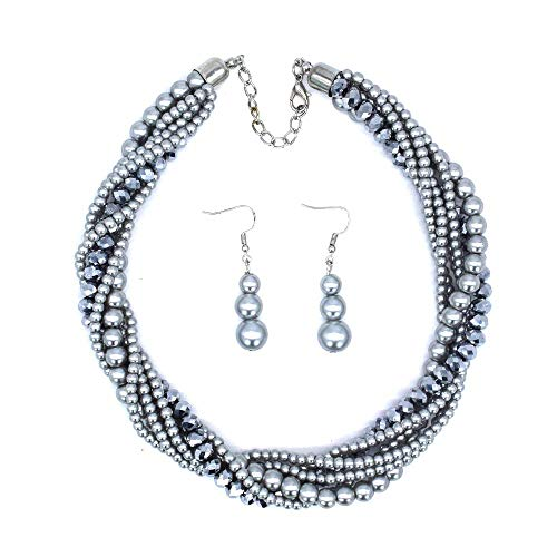 Acrylic Pearl Necklace (Kasima Women's Twisted Multi-Layer Simulate Pearl Acrylic Bead Jewelry Statement Earrings and Necklace Set (Silver))
