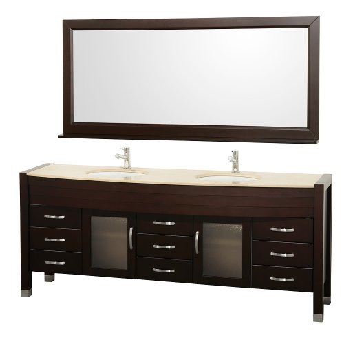 Wyndham Collection Daytona 78 inch Double Bathroom Vanity in Espresso with Ivory Marble Top with White Porcelain Undermount Sinks (Ivory Bathroom Vanity)