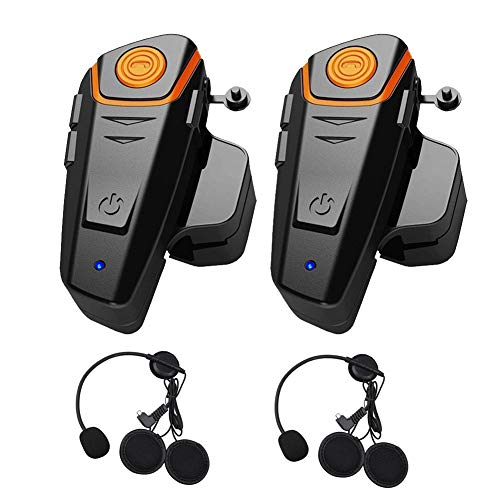 Motorcycle Motorbike Helmet with bluetooth function Intercom Interphone Headset 800m Water Resistant for 2 or 3 riders and 2.5mm Audio for Walkie Talkie MP3 player GPS - Hands Free & FM radio (2Pack) ()