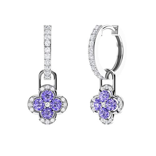 - Diamondere Natural and Certified Diamond Huggie Earrings with a Dangling Tanzanite Flower in 14K White Gold | 1.38 Carat Petite Earrings for Women