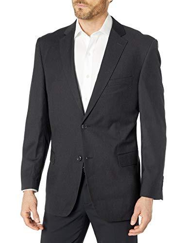Robert Kent Men's Bishop 1 Suit Seperate Jacket, Charcoal Pinstripe, 46 Long