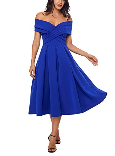 Alvaq Femmes Enveloppent Au Large De La Patineuse Artistique Épaule Robes Midi Bleu Fête