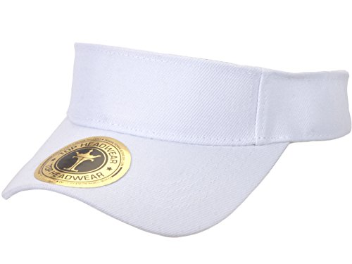 TOP HEADWEAR Solid Adjustable Sports Visor, White