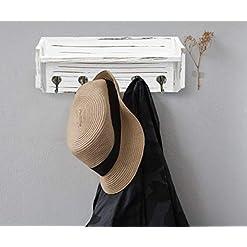 Entryway Ugiftt Wall Mounted Coat Rack with Shelf,Rustic Wood Entryway Shelf with 5 Coat Hooks,Farmhouse Coat Hooks and Upper…