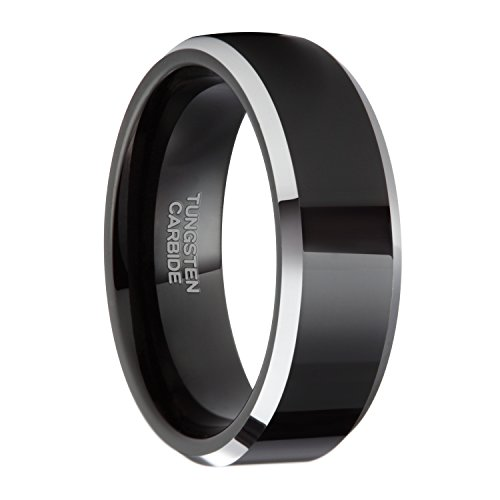 8MM Tungsten Black Flat Top Silver Beveled Edges Wedding Band Rings Comfort Fit Size 4 - 15(12.5) ()