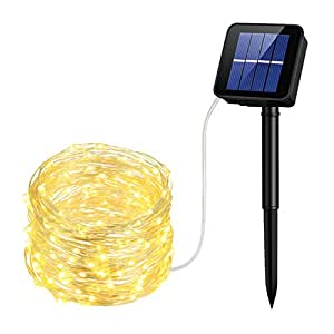 Cymas Solar String Lights, 33ft 100 LED Outdoor String Lights, Waterproof Decorative String Lights for Patio, Garden, Gate, Yard, Party, Wedding (Warm White)
