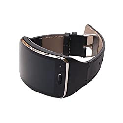 Learnin Genuine Leather Watch Wrist Strap Band for Samsung Gear S SM-R750 Smart (black)