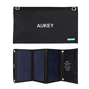 AUKEY PB-P4 Cargador Panel Solar 21W con 2 Puertos USB 5V 4A Max para Apple iPhone, Samsung, iPad, Tablet, Altavoz y más