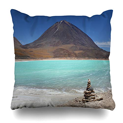 (Ahawoso Throw Pillow Cover Near Blue Altiplano Natural Green Colors Laguna Verde Mountain Nature Parks Red America Andean Avaroa Home Decor Pillow Case Square Size 18x18 Inches Zippered Pillowcase)