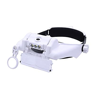 Lighted Head Magnifier Glass Loupe Headset with Led Light Headhand Magnifying Visor Hands-Free for Close Work,Jewelry,Sewing,Crafts,Reading,3 LEDs,6 Lenses: Health & Personal Care