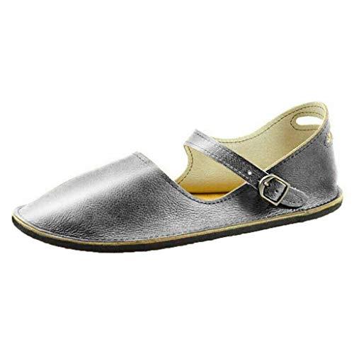 Women's Wide Width Flat Shoes - Cozy Retro Pointy Toe Buckle Strap Roman Flat by Nevera -