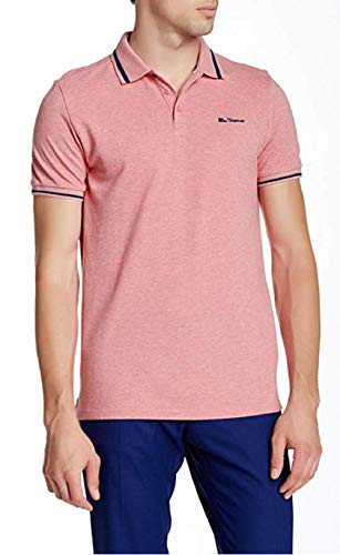 Ben Sherman Mens Contrast Tipped Pique Polo Shirt (X-Large, Strawberry Marl)