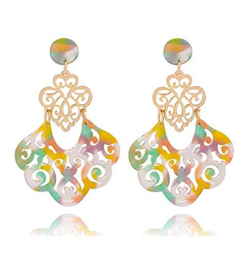 (YAHPERN Acrylic Earrings for Women Girls Statement Geometric Earrings Resin Acetate Drop Dangle Earrings Mottled Hoop Earrings Fashion Jewelry)