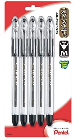 Pentel R.S.V.P. Ballpoint Pen, Medium Line, Black Ink, 5 Pack  (BK91BP5A)