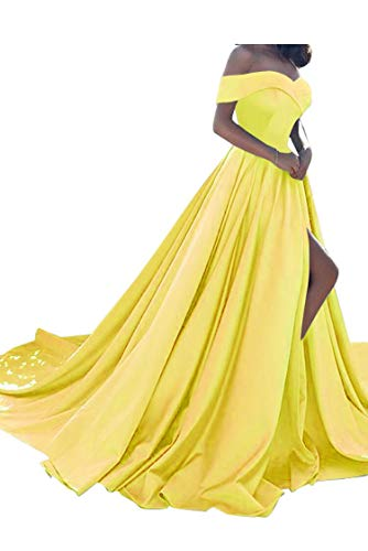 Homdor Split Off Shoulder Prom Evening Dress Women A-Line Satin Formal Gown
