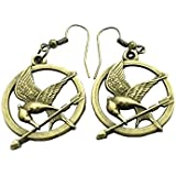 Onairmall Vintage Mockingjay Style Gold Plated Woman Lady Dangle Earrings Elegant Jewelry
