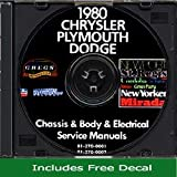 1980 Chrysler Plymouth Dodge Repair Shop Service Manual CD (with Decal)