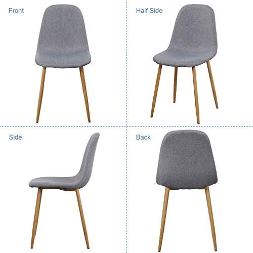VECELO Dining Chairs for Kitchen/Dining/Living/Lounge Room, Fabric Cushion Seat Back Sturdy Metal Legs, Set of 4,Grey by VECELO (Image #3)