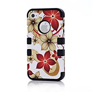 2 in 1 Hawaii Flower Robot Style PC and Silicone Composite Case for iPhone 4/4S(Assorted Colors) , Green