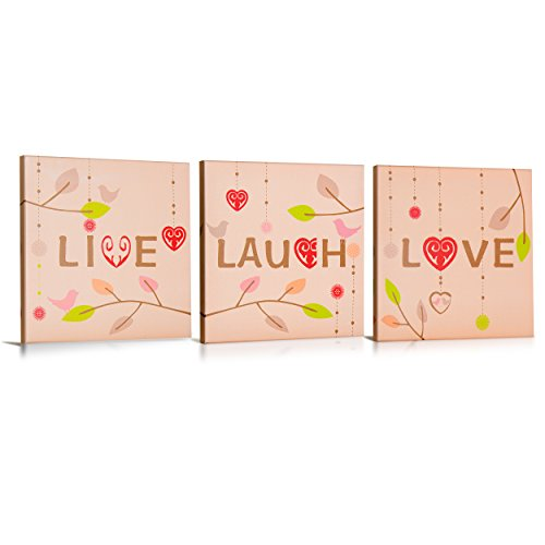 Live, Laugh, Love, Canvas Wall Art, with Cheerful - Words To Live By Canvas Art