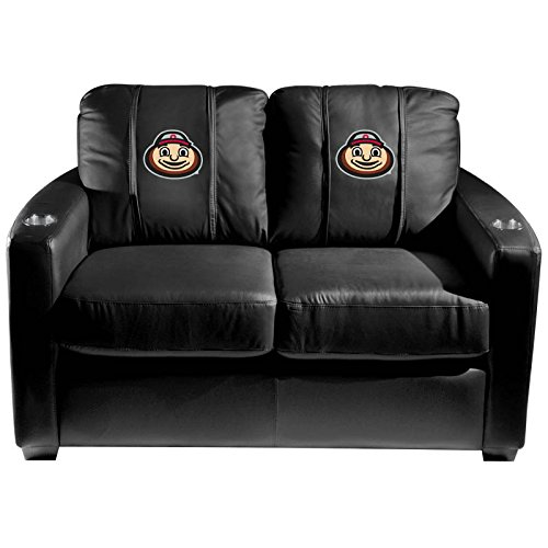 XZipit College Silver Loveseat with Ohio State Buckeyes Brutus Head Logo Panel, Black