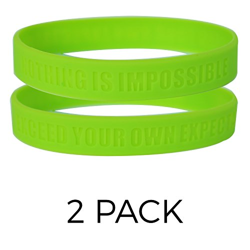 Nothing Is Impossible, Exceed Your Own Expectations Motivational Silicone Wristbands, Rubber bands for Fitness, Workouts, Crossfit, Basketball, Lifting (Lime Green)