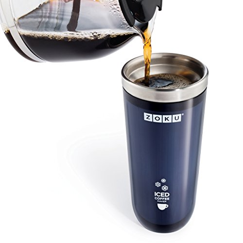 Zoku Grey Iced Coffee Maker, Travel Mug