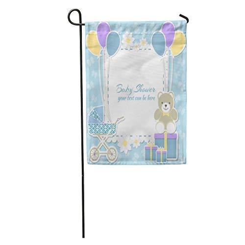 (Semtomn Garden Flag Album Baby Boy Place Teddy Bear Box Blue Butterfly Flower Home Yard House Decor Barnner Outdoor Stand 28x40 Inches Flag)