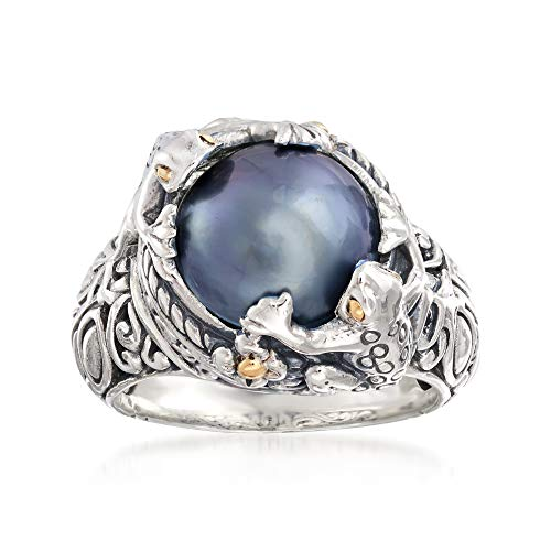 Ross-Simons 11-12mm Gray Mabe Pearl Frog Ring in Two-Tone Sterling Silver