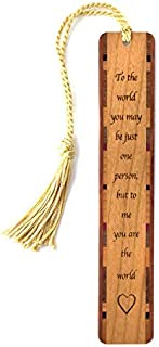 product image for Personalized to Me You are The World Quote, Engraved Wooden Bookmark with Tassel - Search B071CK4Z9L for Non-Personalized Version