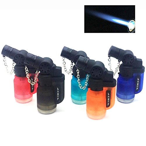 - Elite Brands USA Angled Jet Flame Refillable Windproof Torch Lighters, Ideal for Cigar Cigarette Camping Hiking Hunting Melting Brazing, Butane Lighter, Value Pack of 5