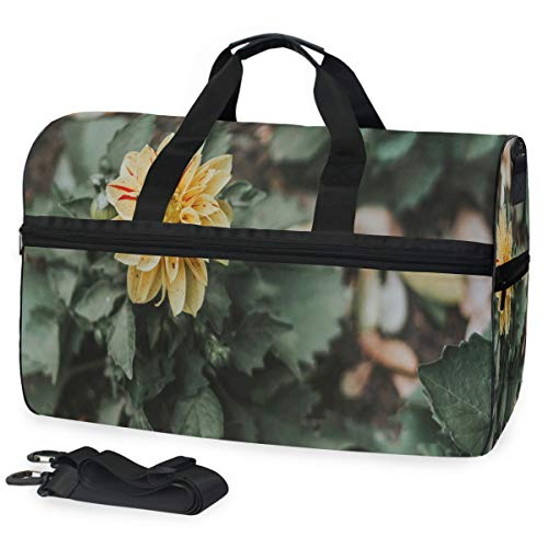 (Gym Bag Yellow Flower Bloom Sport Travel Duffel Bag with Shoes Compartment Large Capacity for Men/Women)