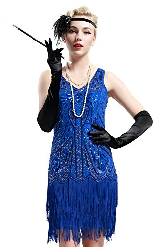 BABEYOND Women's Flapper Dresses 1920s V Neck Beaded Fringed Great Gatsby Dress (X-Large, Blue) -