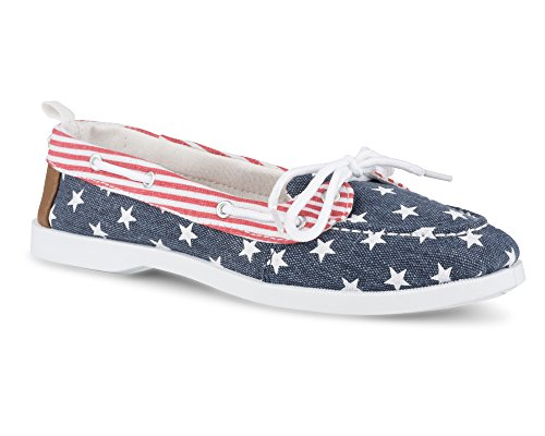 - Twisted Women's Bonnie Stars and Stripes Canvas Boat Shoe - BONNIE120 RED, Size 7