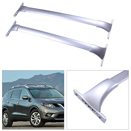 cciyu 2Pcs Universal Silver Aluminum Roof Rack Cross Bar Car Top Luggage Carrier Rails Fit for 2014-2018 Nissan Rogue Sport Utility 4-Door 2.0L 2.5L(Only Fit Models with Actual Side Rails)