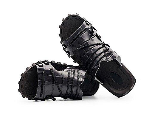 Summer sandali di modello di estate uomini sandali di grandi dimensioni sandali di lusso scarpe di pelle di mucca antiscivolo, nero, UK = 6.5, EU = 40