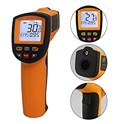 Jklnm Infrared Thermometer Helect Non-Contact Digital with LCD Display Temperature Alarm Function (200~1850?(392~3362?)) for Cooking Food Kitchen Oven Industry Etc (Battery Not Included)