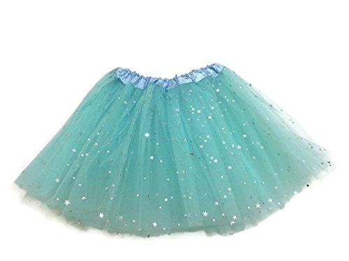 Rush Dance Ballerina Girls Dress-Up Sparkling Stars Sequins Costume Recital Tutu (Kids (2-8 Years Old), Light Blue)